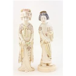 "2 Japanese carved ivory figures of ""Women"""