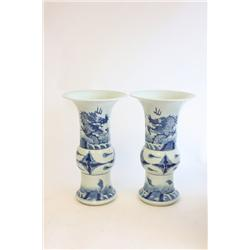 Pair 19th c. blue & white vases