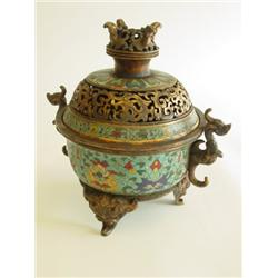 Fine cloisonne tripod censer from Qing Period