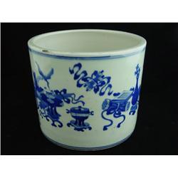 Kuang Xi style blue & white brush pot