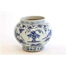 Chinese blue & off white vase