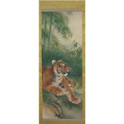 "Chinese scroll with ""Tiger"" in box"