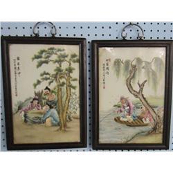 Pair of framed porcelain paintings
