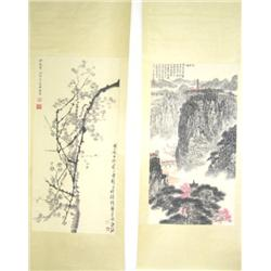 2 Chinese scrolls both signed