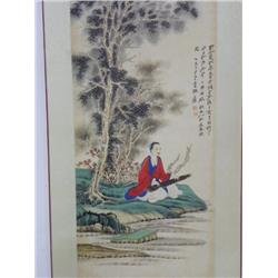 "Chinese scroll of ""Man Playing Instrument"""