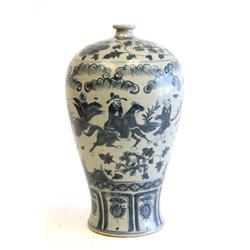 Blue & white Ming style vase