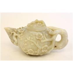 Carved white jade teapot