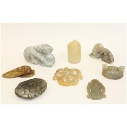 8 pieces jade & stone