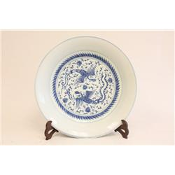 """Blue & white plate of """"Double Phoenix"""""""