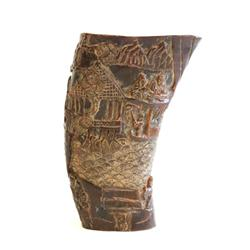"""Carved horn depicting """"Chinese Village"""""""