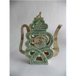 Chinese figural calligraphy pitcher