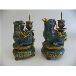 Pair Chinese cloisonne Foo Dog candlesticks