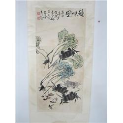Chinese scroll signed Li Kuo Chang  Crabs