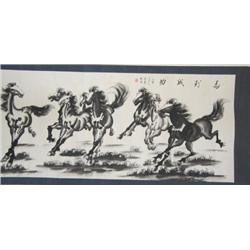 Chinese scroll of  7 Galloping Horses