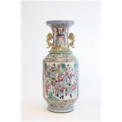 Famille Rose handpainted scenic vase