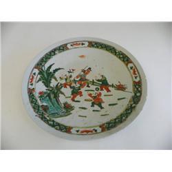 Famille Verde handpainted porcelain charger