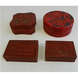 4 cinnabar boxes