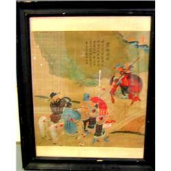 Framed painting on silk artist signed