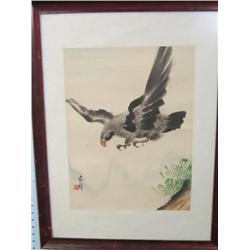 """Framed watercolor artist signed """"Eagle"""""""