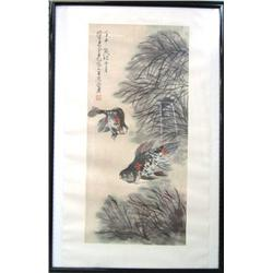 Framed Chinese watercolor artist signed