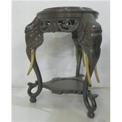 Chinese carved wood elephant table