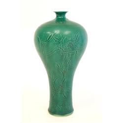 """Green porcelain vase of """"Flowers & Bamboo"""""""