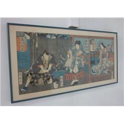 Framed Japanese 3 panel wood block