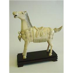 "Chinese ivory ""Horse"" with wood stand"