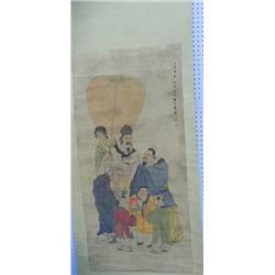 Chinese scroll Chinese Family with 7 Figures