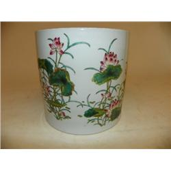 YongZheng Famille Rose brush pot Bitong