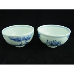 Pair blue & white rice bowls