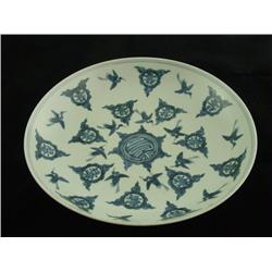 "Blue & white dish with ""Cranes Flying"""