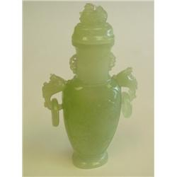 Pale green jade covered urn