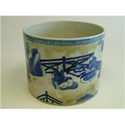 Kangxi blue & white Bitong of  Figures