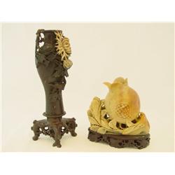 Stone vase with flower & soapstone fruit
