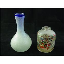Glass snuff bottle & glass vase