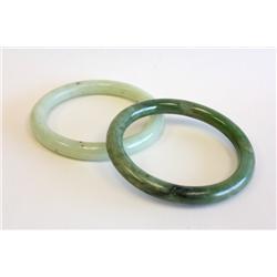 2 green jade bracelets
