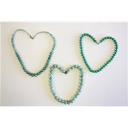 3 green jade beaded chokers