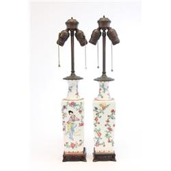 Pair Samson porcelain Chinese motif lamps