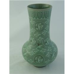 "Korean Celadon vase with ""Birds"""