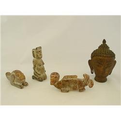 "3 Stone figures & iron Tibetan ""Goddess Head"""