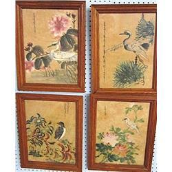 4 oak framed paintings on silk
