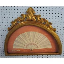 Gilt framed ivory & silk fan