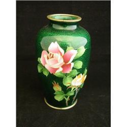Green cloisonne enamel vase over silver