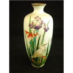 "Light green cloisonne vase wtih ""Bird"" design"