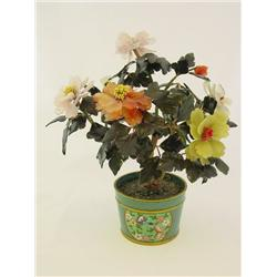 Cloisonne planter with jade & stone tree