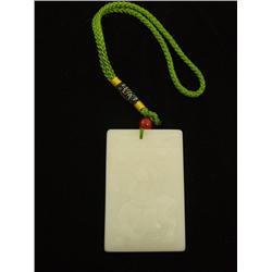"White jade pendant ""Figure Riding on Rhino"""