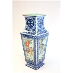 """Qing Dynasty vase with 4 panels """"Scenes of Women"""""""