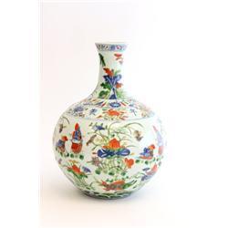 "19th c. vase with ""Flowers & Birds"""