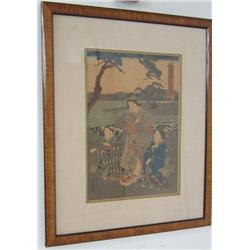 """Framed woodblock of """"3 Woman"""""""